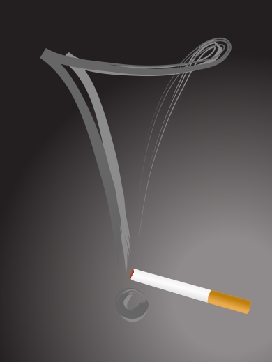 Cigarette with exclamation mark